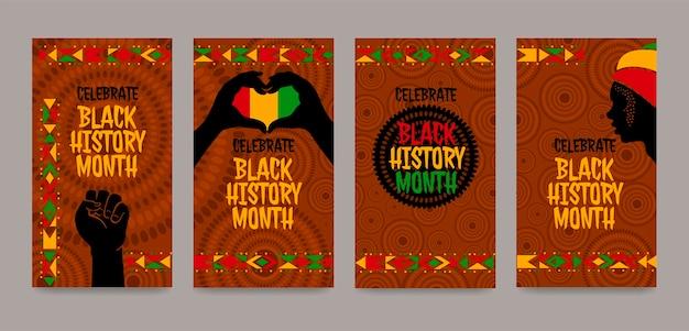 Czarny pakiet historii na instagramie z miesiącami historii