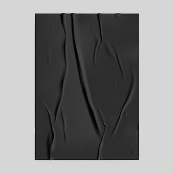 Czarny papier klejony z efektem mokrego pomarszczenia
