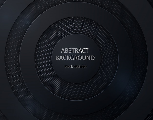 Czarny papier wyciąć okrągły tło. abstrakcjonistyczny 3d tło z czarnymi papierowymi warstwami