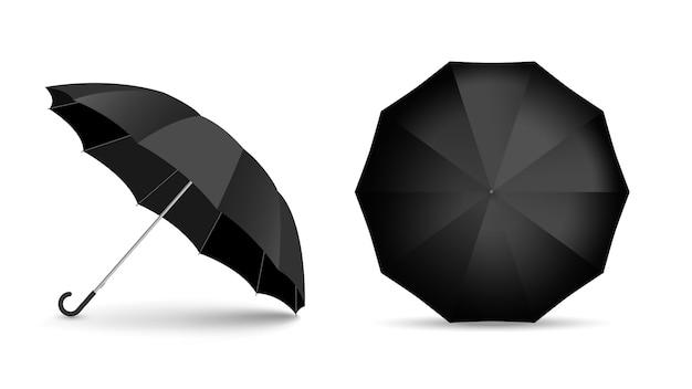 Czarny parasol na białym tle