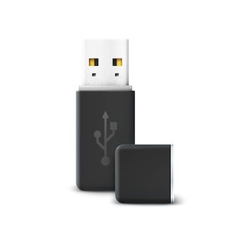 Czarny pendrive na białym tle. usb i sprzęt, transfer informacji i pamięci, przechowywanie technologii, elektroniczne przenoszenie i łączenie.