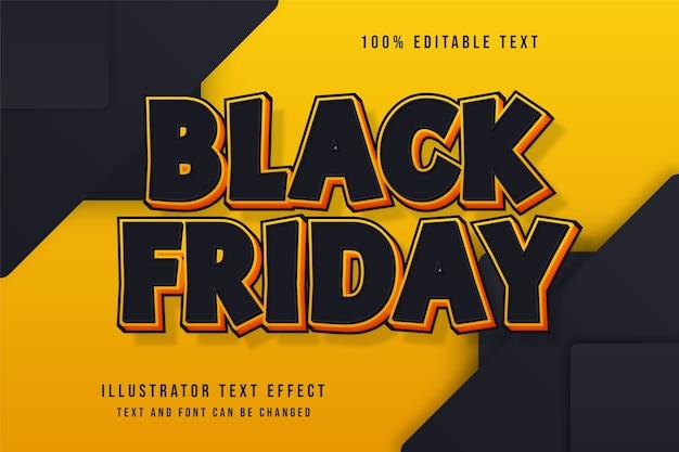 Czarny piątek, 3d edytowalny efekt tekstowy czarny żółty efekt komiksowy