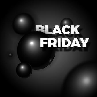 Czarny piątek 3d sprzedaż realistyczny plakat lub baner. wolumetryczne i eleganckie czarne błyszczące bąbelki lub kulki w ciemności.