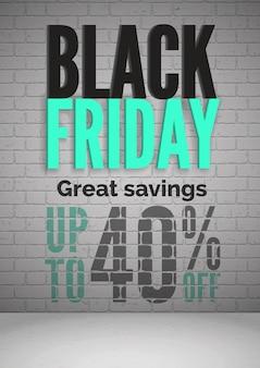 Czarny piątek 40% zniżki na sprzedaż realistyczny szablon plakatu. duże oszczędności na zakupach. specjalne oferty promocyjne dla klientów. układ banera reklamowego sezonowych rabatów