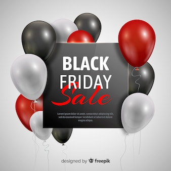 Czarny piątek balonowy sprzedaży tło w czerni i czerwieni