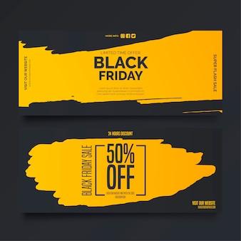 Czarny piątek banery w kolorach żółtym i czarnym