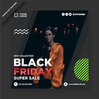 Czarny piątek banner instagram i projekt postu w mediach społecznościowych