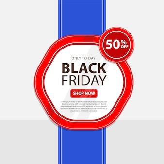 Czarny piątek banner z ilustracją prezentu i balonami, idealny dla sklepów internetowych