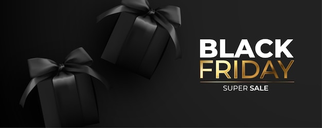 Czarny piątek banner z realistycznymi czarnymi prezentami