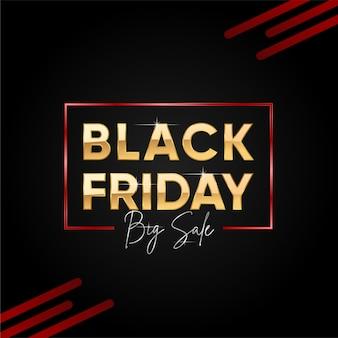Czarny piątek big sprzedaży transparent z złotym tekstem.