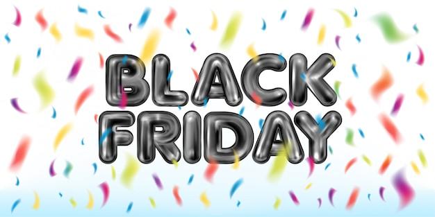 Czarny piątek czarny lateksowy napis z kolorowymi konfetti