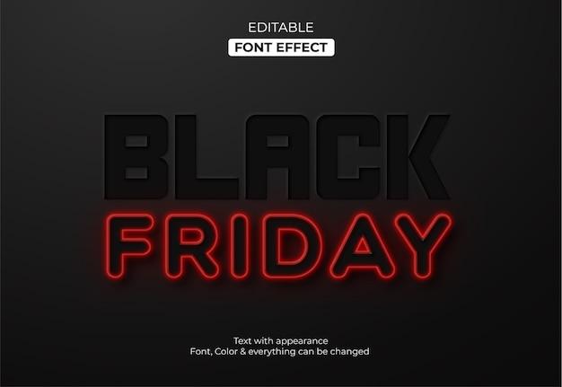 Czarny piątek czerwony neon edytowalny efekt tekstowy