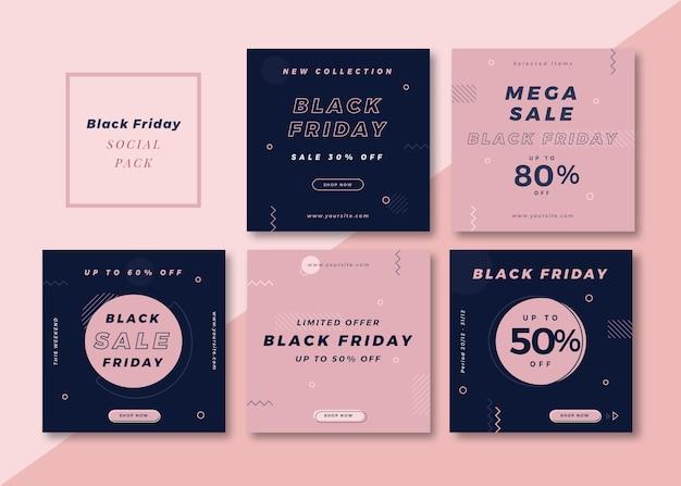 Czarny piątek czysty prosty kwadratowy szablon mediów społecznościowych na instagram, facebook, karuzelę