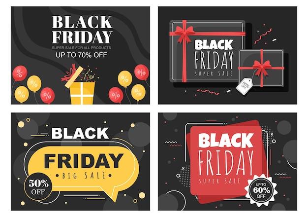 Czarny piątek daj duży rabat na wszystkie produkty na plakat, promocję lub tło wektor ilustracja