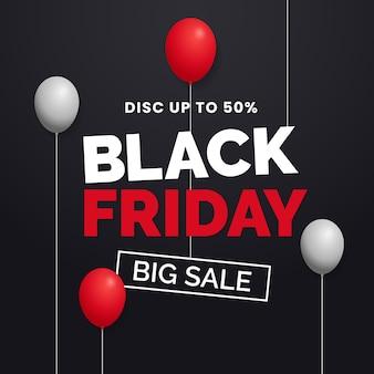 Czarny piątek duża sprzedaż typografii z pływającym balonem do projektowania szablonu promocji w mediach społecznościowych