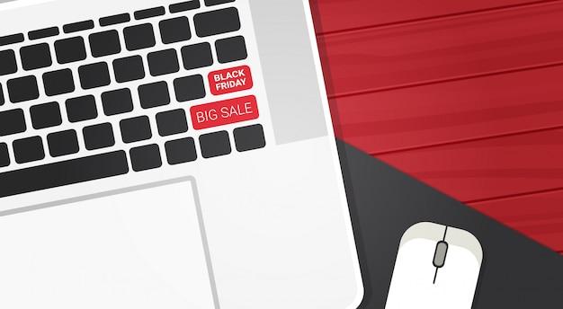 Czarny piątek duży tekst sprzedaży na klawiaturze laptopa przyciski na zakupy rabaty