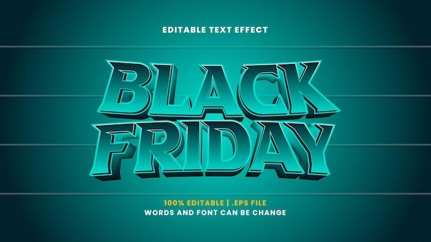 Czarny piątek edytowalny efekt tekstowy w nowoczesnym stylu 3d