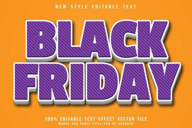 Czarny piątek edytowalny efekt tekstowy wytłoczony w nowoczesnym stylu