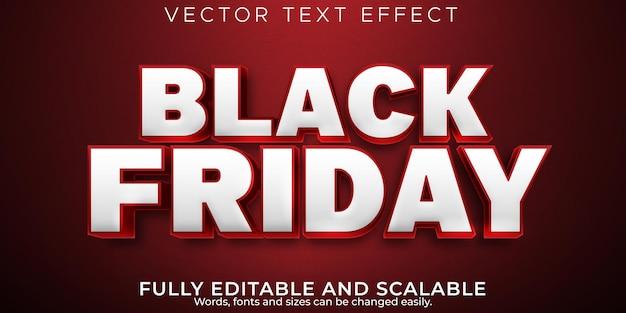 Czarny piątek efekt tekstowy, edytowalna wyprzedaż i styl tekstu oferty