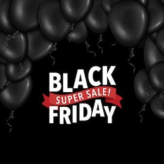 Czarny piątek flayer z balonami