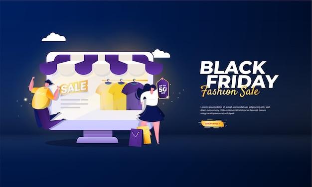 Czarny piątek ilustracja koncepcja sprzedaży mody