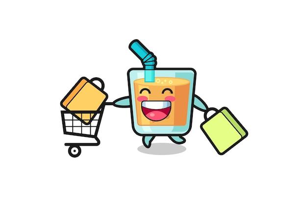Czarny piątek ilustracja z uroczą maskotką soku pomarańczowego, ładny styl na koszulkę, naklejkę, element logo