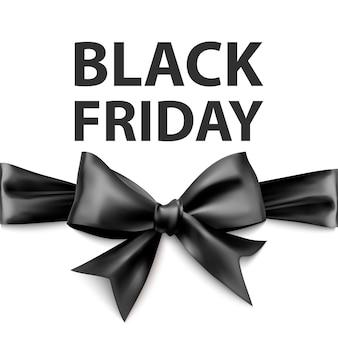 Czarny piątek kartkę z życzeniami z dużą czarną kokardą szablon do projektowania kartka świąteczna