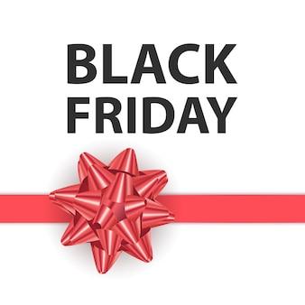 Czarny piątek kartkę z życzeniami z dużą czerwoną kokardą szablon do projektowania kartka świąteczna
