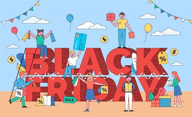 Czarny piątek, klienci z papierowymi torbami i prezentami