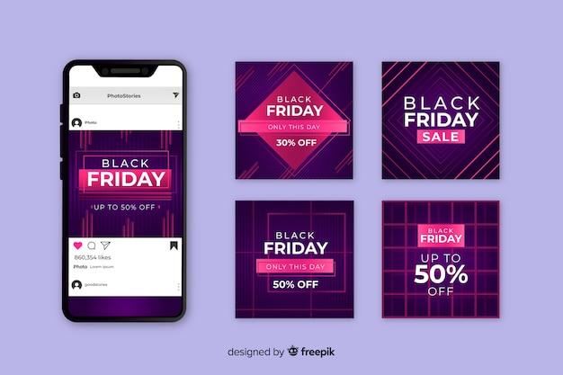 Czarny piątek kolekcja postów na instagramie w kolorze fioletowym