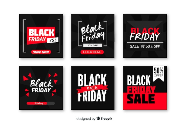 Czarny piątek kolekcja postów na instagramie