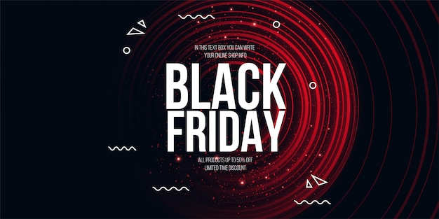 Czarny piątek kolorowy baner z abstrakcyjnym tłem