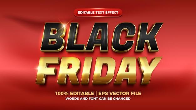 Czarny piątek luksusowe złoto 3d edytowalny efekt tekstowy