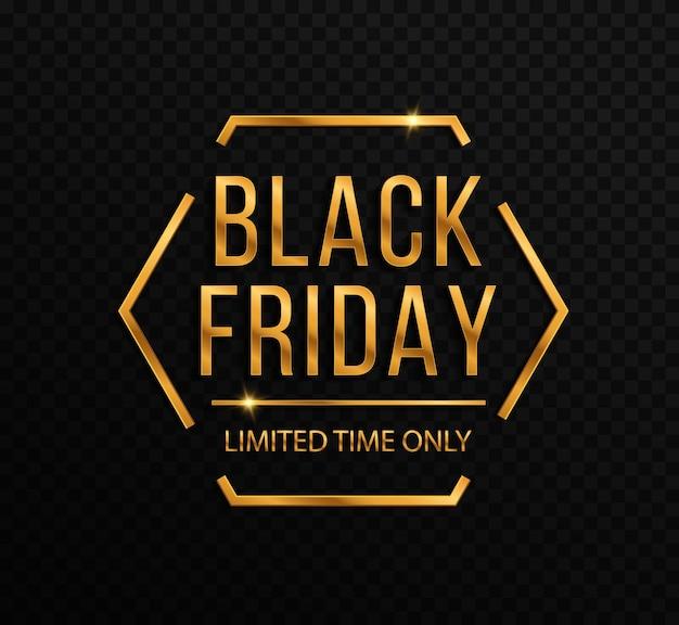 Czarny piątek luksusowy baner sprzedaży złoty tekst napis sprzedaż baner plakat logo
