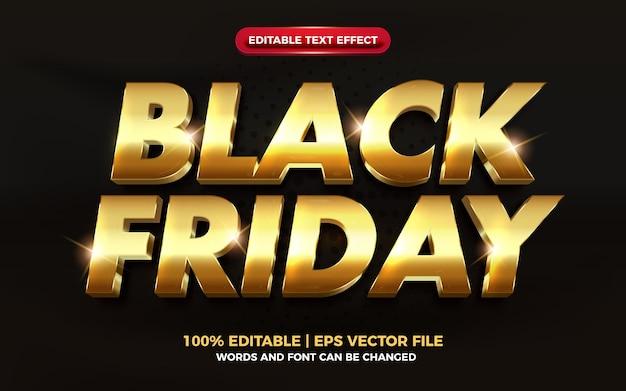 Czarny piątek luksusowy złoty elegancki efekt 3d edytowalny tekst
