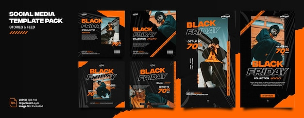 Czarny piątek miejskie nowoczesne historie modowe na instagramie i pakiet pakietów z banerami w mediach społecznościowych