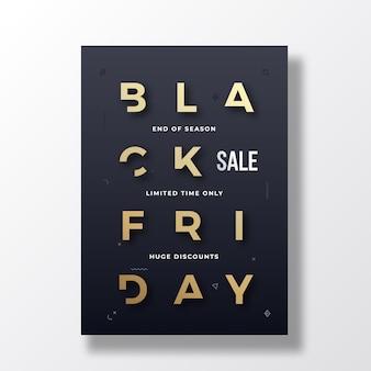 Czarny piątek minimalistyczny baner typograficzny, plakat lub szablon przezroczysty.
