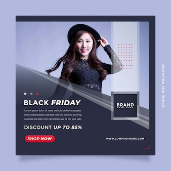 Czarny piątek moda sprzedaż postów w mediach społecznościowych i szablon banera