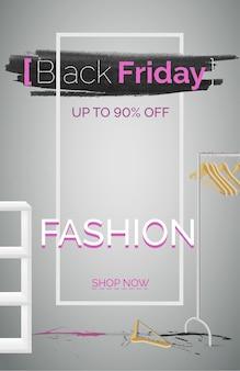 Czarny piątek moda sprzedaż transparent wektor szablon. sezonowy plakat rabatowy. zakupy odzieży z obniżką ceny. do 90 procent taniej. stylowy różowy tekst. realistyczna ilustracja wieszaka na stojaku