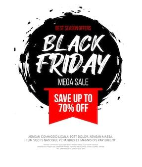 Czarny piątek napis na abstrakcyjnym czarnym tuszem okrągłym miejscu na sprzedaż i rabat