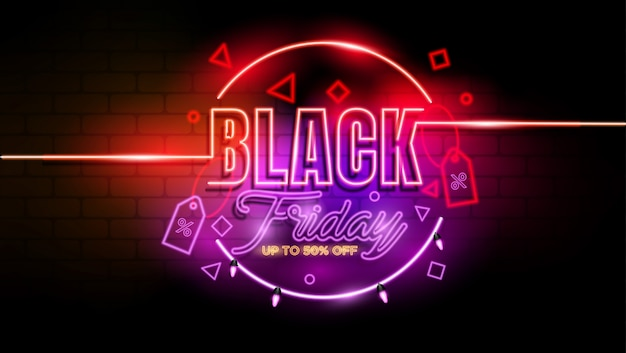 Czarny piątek neon promocja tła