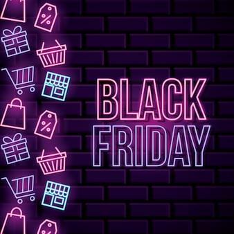 Czarny piątek neon transparent z zakupami ikon i tekstem