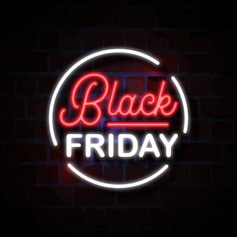 Czarny piątek neon znak styl ilustracji