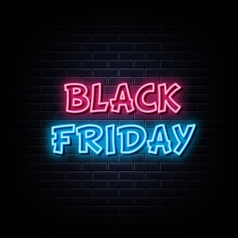 Czarny piątek neony zaprojektuj szablon neonowy znak