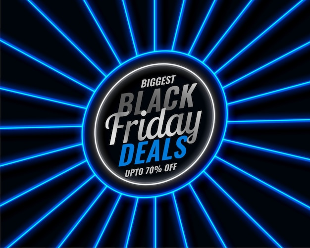 Czarny piątek niebieski neon sprzedaży transparent stylu