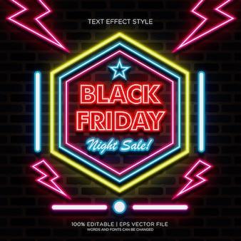 Czarny piątek nocny baner sprzedaży z efektami tekstu neonowego