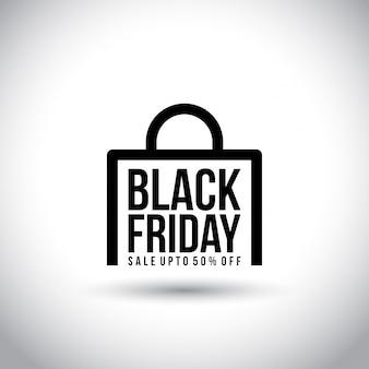 Czarny piątek. nowa prosta typografia na abstrakcjonistycznej torba na zakupy na białym tle.