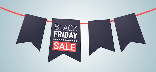 Czarny piątek oferta specjalna duża sprzedaż plakat wstążka zakładka znacznik na szarym wakacyjnym rabacie mieszkanie