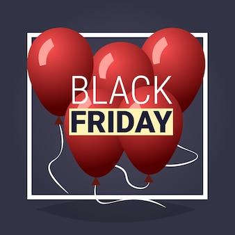 Czarny piątek oferta specjalna duża wyprzedaż plakat czerwone balony nad szarym wakacyjnym rabatem mieszkanie