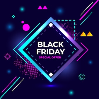 Czarny piątek oferta specjalna flash sprzedaż kreatywnych geometrii banner